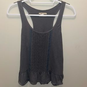 {HOLLISTER} Lace Ruffled Gray Tank Top